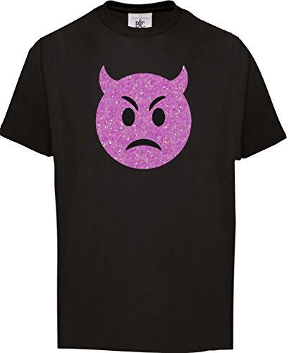 super funkelnder Glitzeraufdruck Smiley Emoticon T-Shirt Karneval Fasching Kostüm Teufel wütend, verärgert, 98-104 (Moderne Teufel Kostüme)