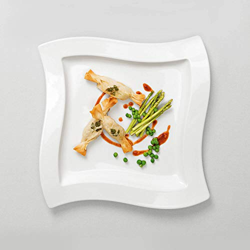 Villeroy & Boch NewWave Dinnerset / quadratische Suppenteller und Speiseteller in geschwungener Form aus edlem Porzellan / 1 x Set (8-teilig) - 3