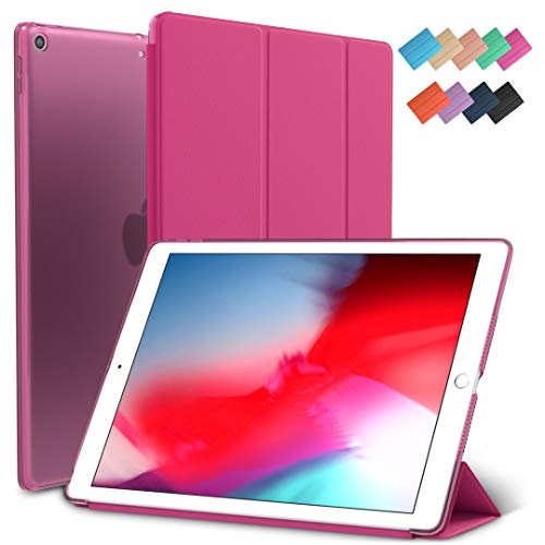 iPad Mini 5 Hülle, Sky Slim-Fit Smart Rubber Folio Hard Translucent Frosted Cover Light Weight Wake Sleep for Apple iPad Mini 5th Generation 2019 Model A2133 A2124 A2126 7.9 Zoll Display hot pink Translucent Pink Case Cover