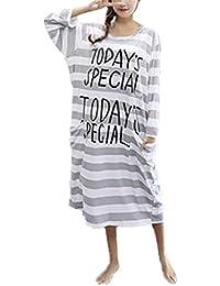 BESTHOO Umstands Nachtkleid Damen Streifen Schwangere Nachthemd Langarm Löcher Nachtkleid ÜBergröße Softy Pyjama Letter Gedruckte Schlafkleid