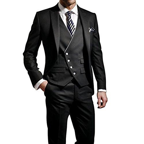 GEORGE Herren Anzug Tuxedos Smokingsakko Anzuege 3-Teilig Anzug Sakko,Anzug Hose,Weste 114,S