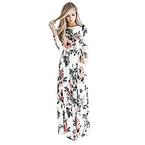 TOOGOO(R) Women's New Floral Print Wrist Sleeve Empire Waist Boho Dresses Fashion Ladies Evening Party Long Beach Maxi