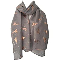 Purple Possum Fairy Scarf Grey Rose Gold Tone Fairies, Ladies Gray Cotton Sparkly Foil Fairy Wrap