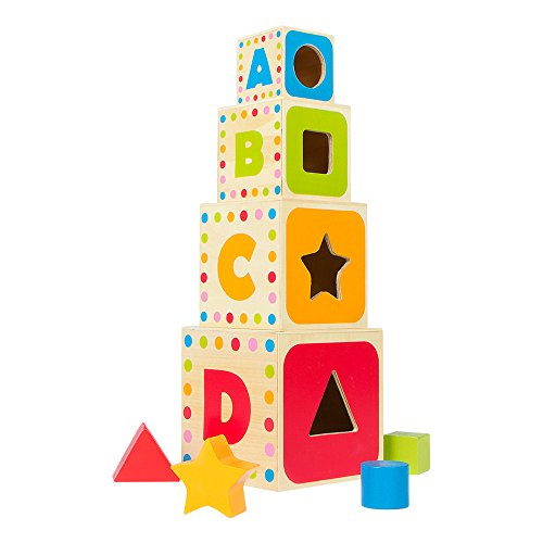 ColorBaby - Wooden cube tower 37 cm and 4 geometric figures (43625)