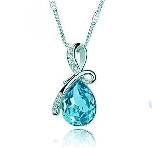 Collier Femme Baisse de L'eau- Cristal - Bleu Lagon - 45 cm