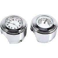 Manillar de Moto Reloj Chrome Reloj de Montaje Del Manillar Reloj de Moto Ronda de Motocicletas Dial de Reloj