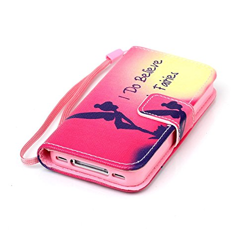 Coque pour iPhone 5C, Etui pour iPhone 5C, ISAKEN Peinture Style PU Cuir Flip Magnétique Portefeuille Etui Housse de Protection Coque Étui Case Cover avec Portable Dragonne Stand Support et Carte de C Croire Fée