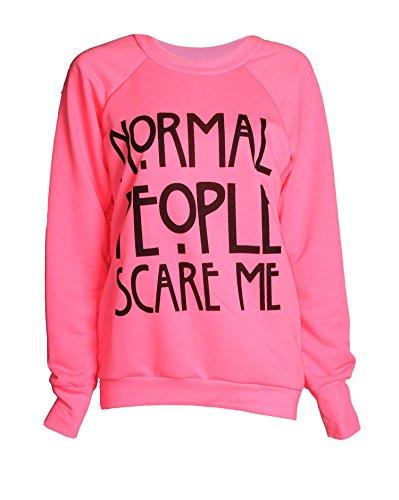 Fast Fashion - Sweat Shirt De Geek Drogue Cocaïne Brooklyn Imprimer Toison Haut - Femmes Scare Me Rose Fluo