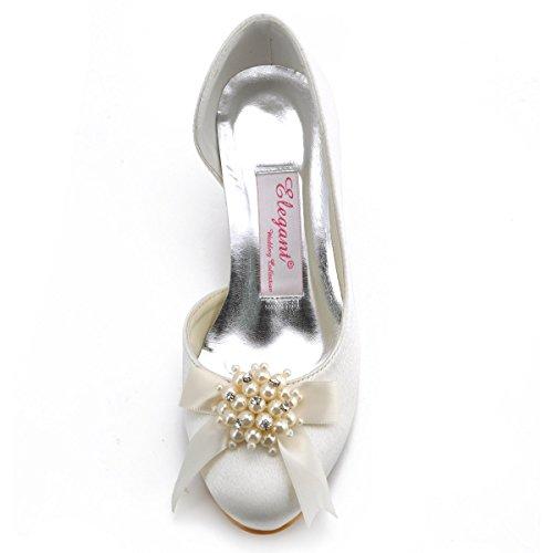 Elegantpark 100114 bout Rond Perle Bijoux Femmes Satin Confort Chaussures de Mariee Mariage Ivoire