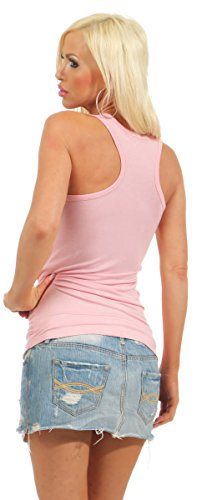 5583 Fashion4Young Damen Tank-Top Damentop Shirt Top Slim fit Unterhemd Basic Ringer-Top Rosa