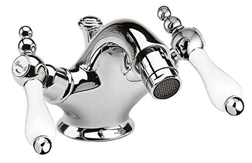 Casa Padrino Jugendstil Retro Bidetarmatur Badezimmer Waschtischarmatur Silber/Weiß H. 10,5 cm -...