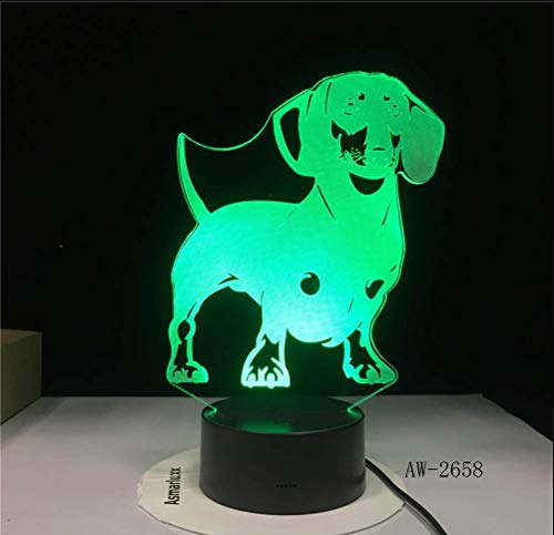 Veilleuse 3D,Teckel Race De Chien 3D Led Illusion D'Optique Lampe Lampe À La Main Saucisse Chien Animal De Compagnie Chiot Décor De Nuit Lumière Changeante Couleur Changeante