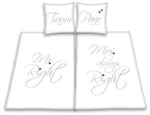 herding 445936239412 partner bettw sche mr and mrs right kopfkissenbezug 80 x 80 cm und. Black Bedroom Furniture Sets. Home Design Ideas