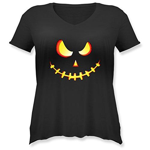 Shirtracer Halloween - Gruseliges Kürbis-Gesicht - Weit Geschnittenes Damen Shirt in Großen Größen mit V-Ausschnitt Schwarz