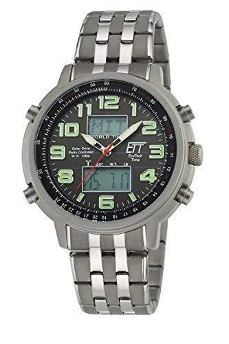 ETT Eco Tech Time Funk Solar Herren Uhr Analog - Digital mit Edelstahl Armband EGS-11302-22M