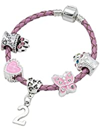 Children's Pink Leather Happy 2nd Birthday Charm Bracelet With Lovely Jewellery Hut Gift Pouch - Girl's & Children's Birthday Gift Jewellery
