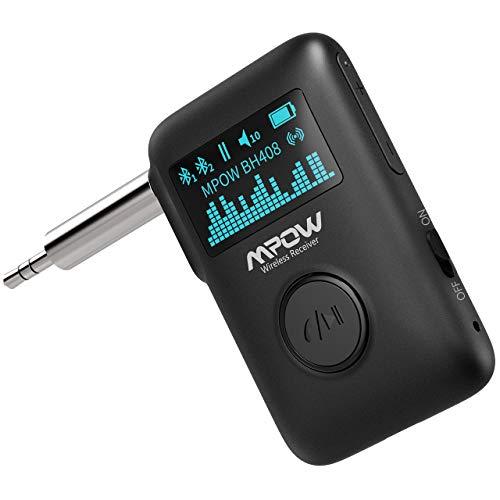 Mpow Bluetooth Wireless Musik Empfänger, Bluetooth 5.0-Audioempfänger mit OLED-Anzeige, Musik-Streaming-Adapter mit DSP CVC8.0-Geräuschunterdrückung, 3D-Surround-Sound für Autoradio