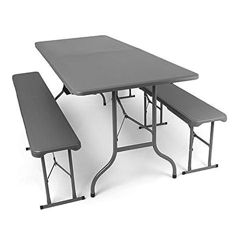 L'ensemble de mobilier de jardin, bancs et table brasserie en anthracite pliables - Table et bancs en plastique - le lot comprend : 2x bancs de brasserie et 1x table de brasserie, par Park Alley