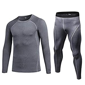Sisaki Herren Fitness Langarm-Kompressionsshirt Elastizität Sports Base Layer Hose, Winter Funktions Laufset
