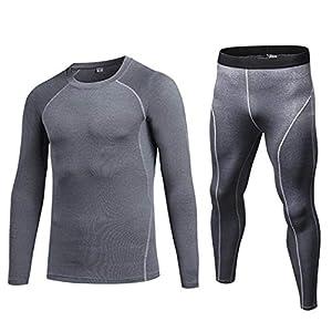 Oplon Herren Rundhals Langarm T-Shirt Ganzkörperansicht Strumpfhosen Compression Sportwear Set Bekleidungssets Schwarz Blau Grau