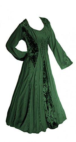 (Unbekannt Dark Dreams Gothic Mittelalter LARP Kleid schnürung geschnürt Bestickt Anaya, Größe:L/XL, Farbe:flaschengrün)