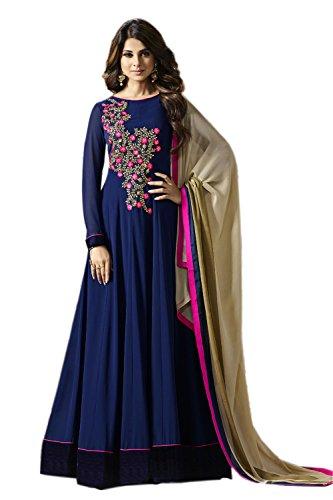 Aryan Fashion Women's Georgette Anarkali Salwar Suit Set (Tghvd10651_Blue)