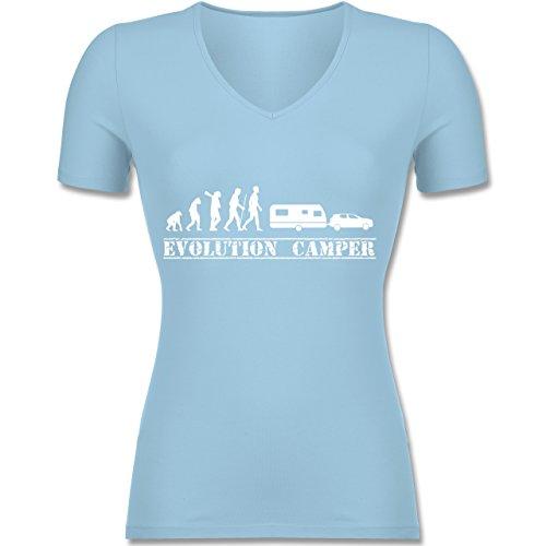 Evolution - Evolution Wohnwagen Weiß - Tailliertes T-Shirt mit V-Ausschnitt für Frauen Hellblau
