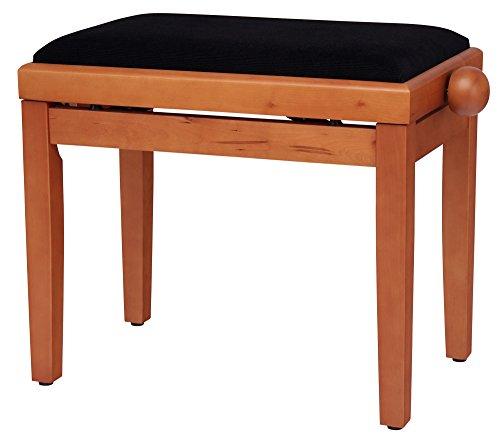 Classic Cantabile Pianobank Buche-matt (Höhenverstellbar von 47-56cm, Spindelmechanik, Sitzfläche 55 x 32cm, schwarzer Velourbezug, stabil) Test