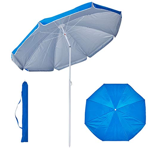 Duhome Sonnenschirm Strandschirm Polyester Hell Blau höhenverstellbar neigbar Gartenschirm Wasserabweisend mit Tasche Farbauswahl GB1800
