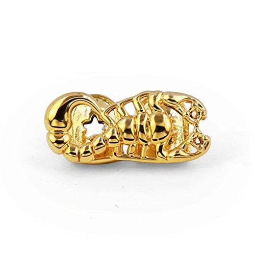 Kappen Zähne (CaptainCrafts Gold Überzogen Hüfte Hopfen Zähne Grillz Kappen Oben Zähne Skorpion (gold))