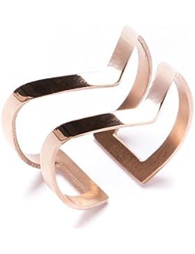 Happiness Boutique Damen Titan Doppel Chevron V Form Offener Ring in Rosegold