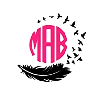 Feather to Birds Monogram Decal| Feather and Bird Decal| Bird Feather Monogram| Feather Decal| Bird Monogram| Feather Vinyl Monogram|