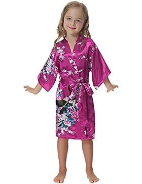 Aibrou Albornoz Ninas corto Lenceria Kimono de satén con estampado floral,Suave,Cómodo,Sedoso y Agradable
