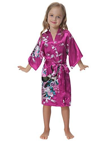 Aibrou Mädchen Morgenmantel Kimono Satin Nachtwäsche Bademantel Kinder -