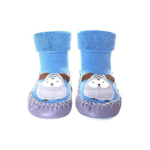 Mukluk Slipper Stiefel (Baby-Anti-Rutsch-Socken Stiefel atmungsaktive Baumwolle Schuhe Cartoon Slipper Socken für Kinder, Kleinkinder, Neugeborene - 13cm Blau)