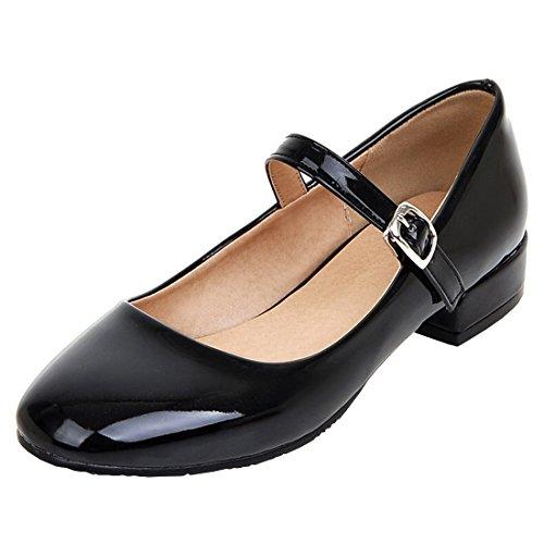 Agodor Damen Flache Mary Jane Halbschuhe mit Schnalle Lack Rockabilly Bequeme Schuhe