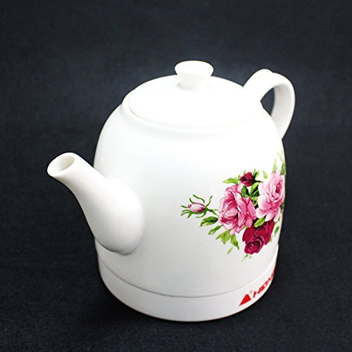GPC Electric Kettle Ceramic + Stainless Steel Chinese Classical Watercolor Rose Pattern Long Mouth Environmental Protection Health 1.2L 24 * 24 * 19.5Cm Electric Kettles