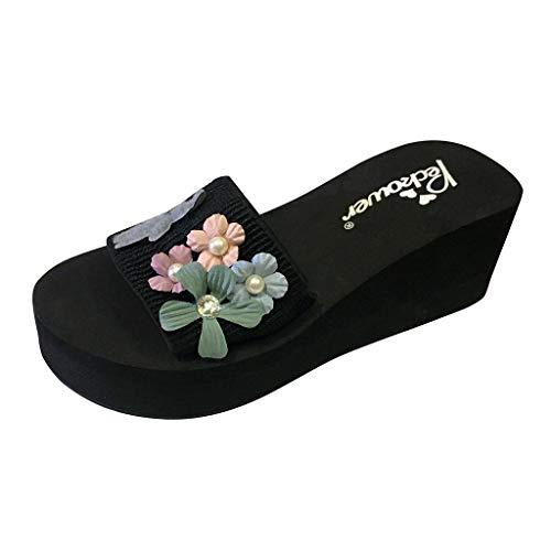 Damen Casual Badeschuhe Sommer Mode Flache Ferse Home Hausschuhe Blumen Perle Plateau Sandalen Bequem Peep Toe Schuhe Outdoor Hausschuhe Strandschuhe