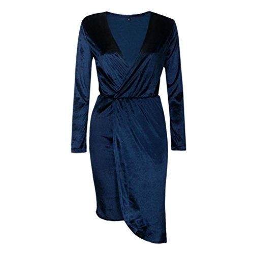 Damen Kleider Xinan Langarm V-Neck Unregelmäßige Kleid Dunkelblau