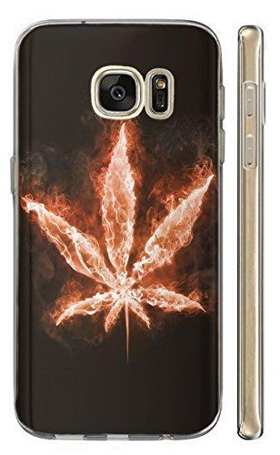 KunaMobile Hülle für Samsung Galaxy A7 2018 TPU Handyhülle Samsung A7 2018 Silikon Hülle Softcase Cover Schutzhülle Motiv (363 Hanf Marihuana Pflanze)