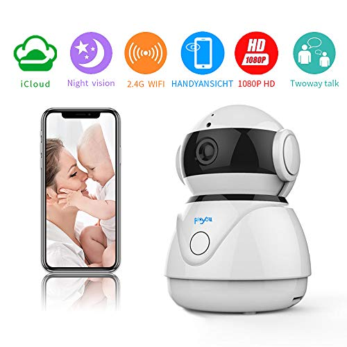Fooyou WLAN IP Kamera 1080P HD Uberwachungskamera mit Nachtsicht Bewegungserkennung 2 Wege Audio Home Indoor Kamera Smart Baby Monitor