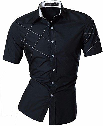 jeansian Homme Chemises Casual Manche Courte Shirt Tops Mode Men Slim Fit 8360 Z003_Navy