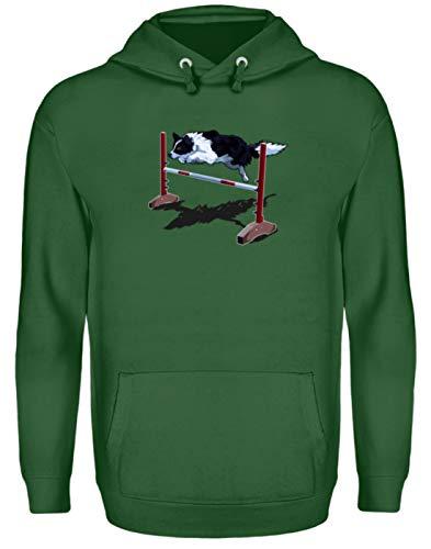 Shirt-o-Topia DE Sportliches Agility Hundesport Border Collie Zitat Geschenk für Hundesportler - Unisex Kapuzenpullover Hoodie -L-Dunkelgrün