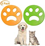 Pet Hair Remover for Laundry - Non-Toxic Reusable with Remove Hair from Dogs and Cats on Clothes in The Washing Machine -2 Pcs (Green+Yellow)