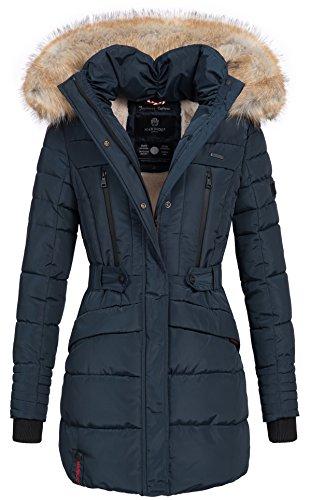 Marikoo Damen Winter Jacke Parka Mantel Winterjacke warm gefüttert Kapuze B608 [B608-Navy-Gr.XL]