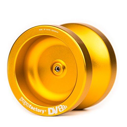 YoyoFactory DV888 Profi Metall Yo-Yo Mit Kugellager & Schnur - GOLD (Ideal für Anfänger, Moderne Leistung Yoyo, Schnelle Rotation Metall Kugellager, Schnur und Anleitung Enthalten)