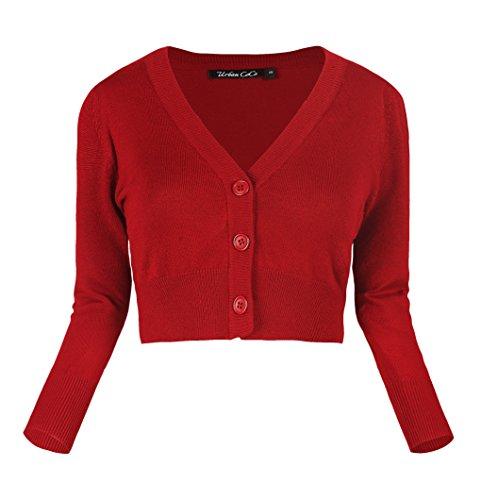 Damen V-Ausschnitt Kurz-Strickweste Strickjacke 3/4 Ärmel Rot