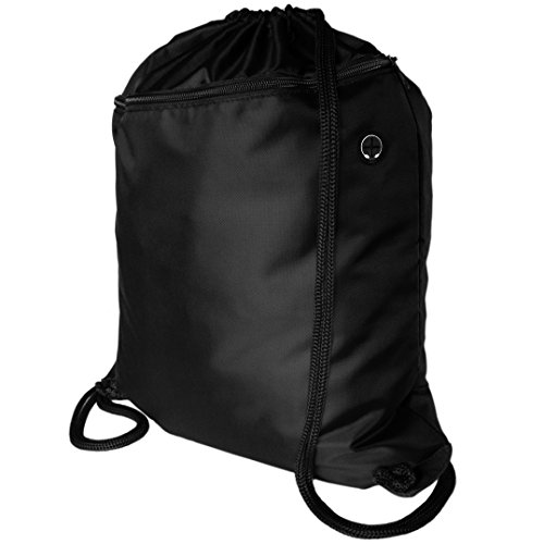 Very Strong Top Quality Drawstring Backpack Gym Bag Rucksack for Adults and Children. Best School Kids PE Kit Bag with No Logo, Perfect for Sports, Beach Holidays, Swimming, Shoes. ProGym by Zavalti (Black)