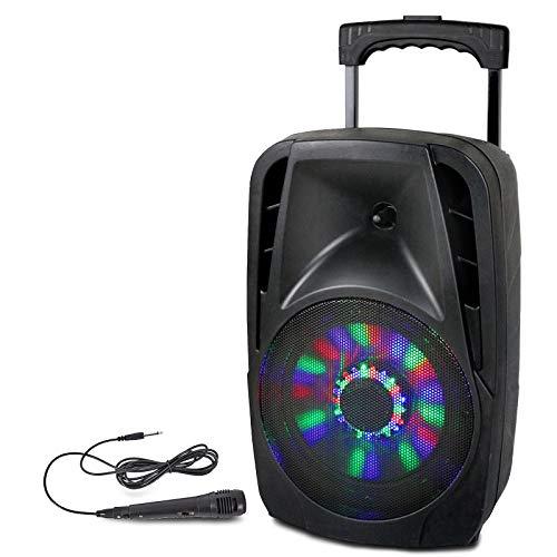 Party 8LED, Cargador con Sistema de Sonido con USB, 20 cm, 8 Pulgadas, 300 W, Bluetooth, FM y Micrófono