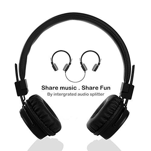 Termichy Kopfhörer Kinder für Jungen und Mädchen, Faltbarer Leicht On-Ear HiFi Stereo kopfhoerer Mit Abnehmbarem Audio Kabel und Share Port (Schwarz)